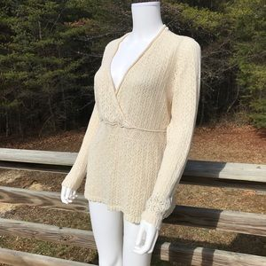 Lane Bryant Ivory Crocheted Sweater